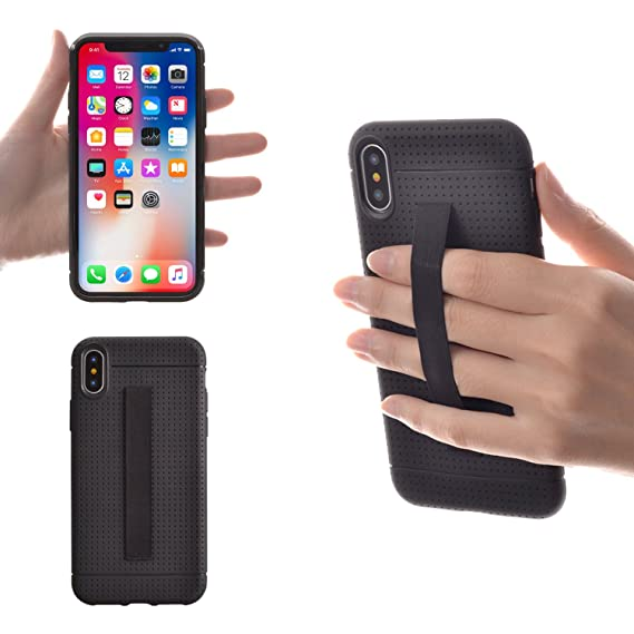 check out 9e343 6d038 TFY Phone Case Compatible with iPhone X Case Cover with Elastic Strap  Holder, Black