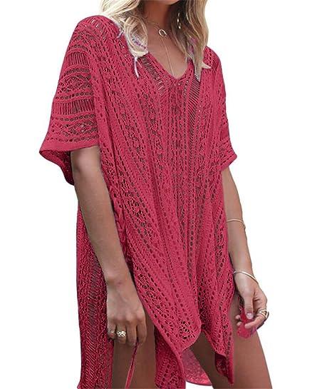 xm Traje de baño de Punto de Mujer túnica de Ganchillo Bata de Playa (Rose