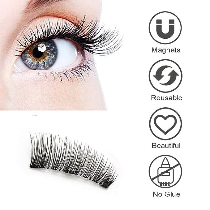Pestañas Postizas magnéticas 3D Fibra reutilizables, Bahpaud Sin Pegamento 100% de Ultra fino Pestañas Hechas a Mano Doble Imanes Falsa Eyelashes.