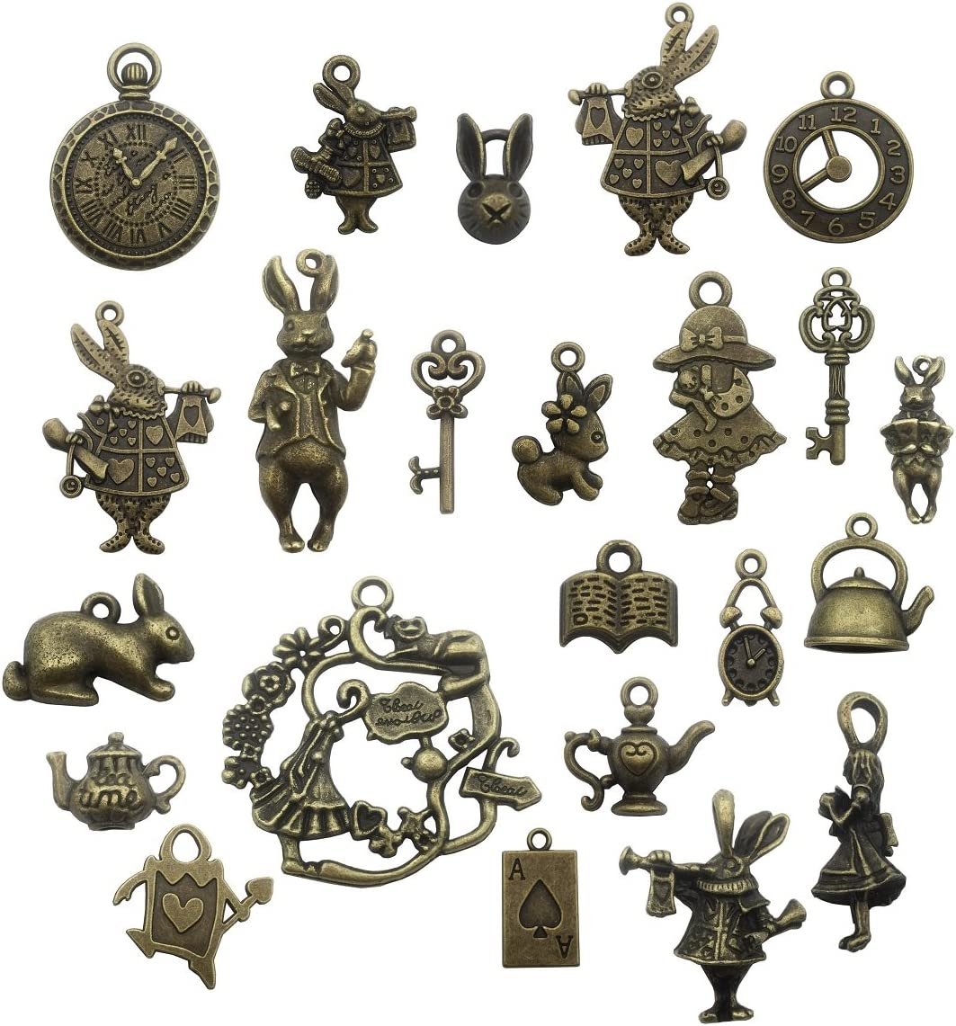 40pcs Antique Bronze Alice in Wonderland Fairy Tales Tea Party Steampunk Victorian Necklace Bracelet Charms (M076)