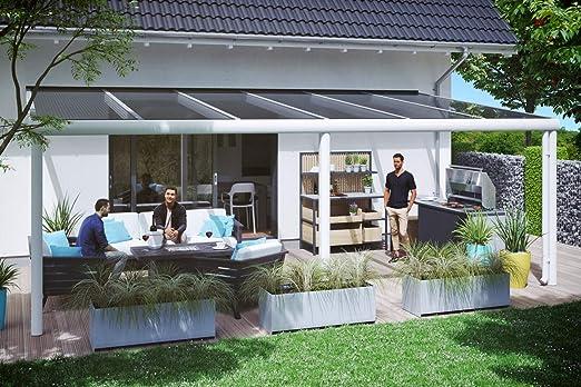 SKAN Holzz Garda - Cubierta para terraza (648 x 357 cm, Aluminio), Color Blanco: Amazon.es: Jardín