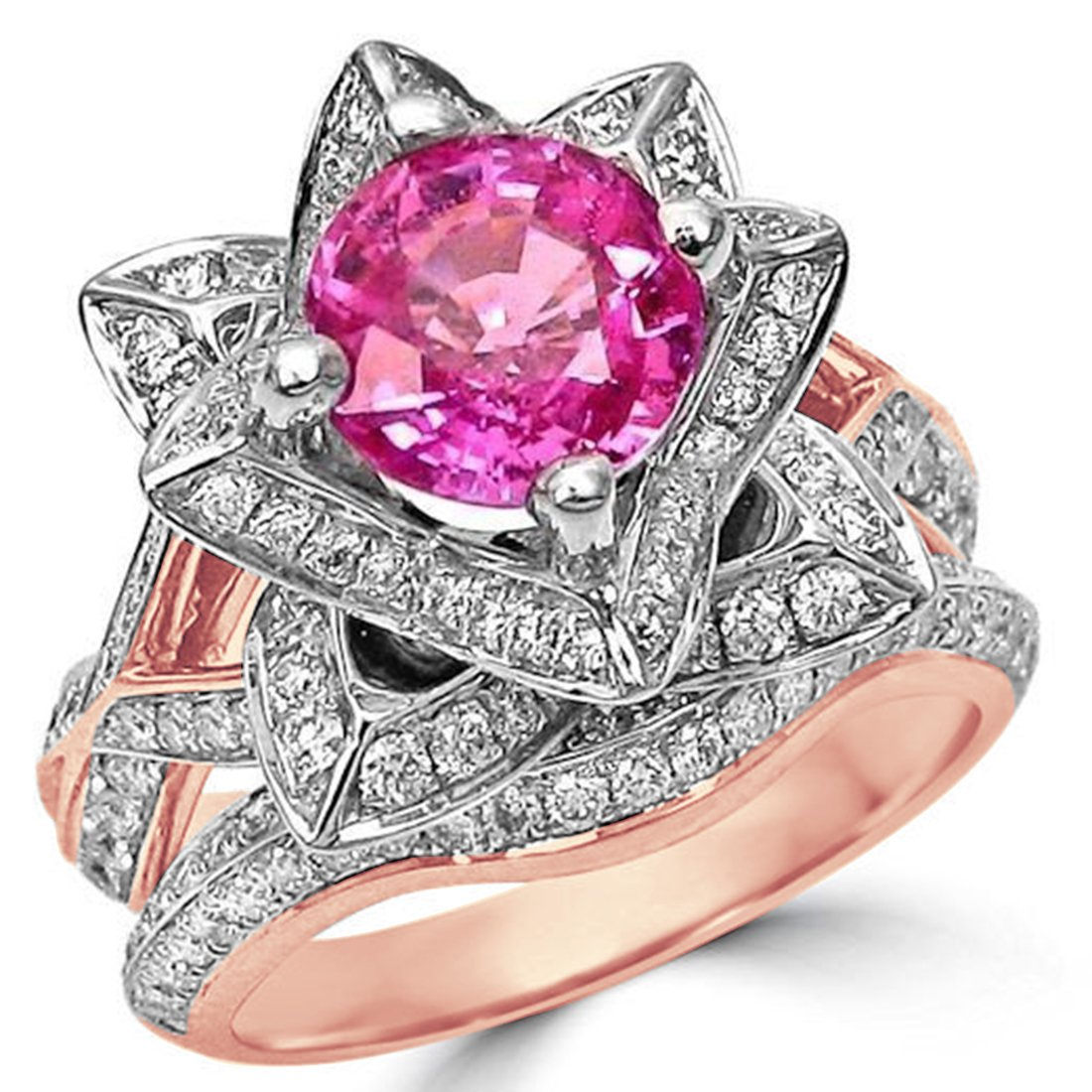 Smjewels 2.37 Ct Round Pink Sapphire Lotus Flower CZ Diamond Ring Bridal Set 14K Rose Gold Fn