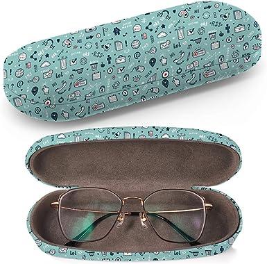 Estuche rígido para gafas, estuche para gafas de sol, caja de plástico con paño de limpieza (Doodle Web Site): Amazon.es: Ropa y accesorios