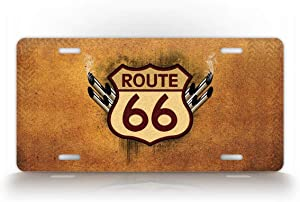 SignsAndTagsOnline Rustic Route 66 License Plate Tailpipes and Mother Road Themed Auto Tag