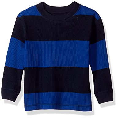86b54a98eb17 Amazon.com  French Toast Baby Boys Long Sleeve Rugby Stripe Thermal ...
