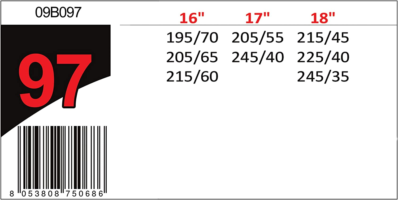 Misura 097 Omologate TUV e GS Onorm Catene da Neve Auto 9 mm Power Grip 09B097