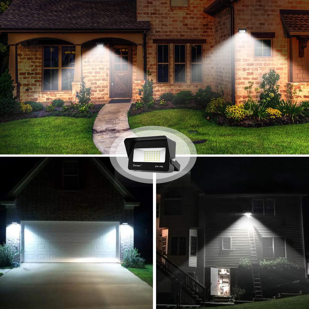 Garages Super Bright Security Lights 3000lm 5000K Daylight White IP66 Waterproof Garden Outdoor Landscape Floodlight for Yard Rooftop ON-FG21-DW-US-2 Onforu 2 Pack 35W LED Flood Light with Light Shield