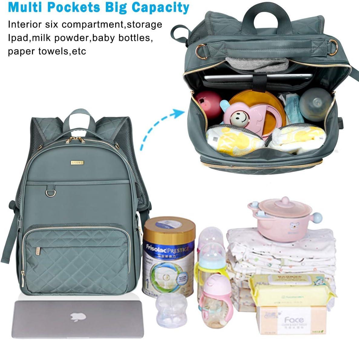Landici Baby Changing Bag Backpack,Waterproof Large Capacity Travel Diaper Bag Back Pack Multi-Function Maternity Rucksack Nappy Bag with Changing Mat/&Stroller Strap/&USB Port for Mom /& Women-Black