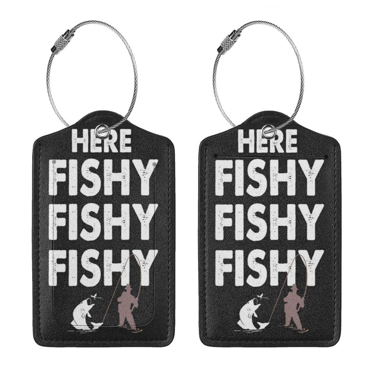 GoldK Fishing Fishing Leather Luggage Tags Baggage Bag Instrument Tag Travel Labels Accessories with Privacy Cover