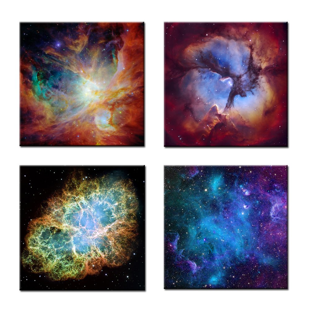 Kreative Arts - Canvas Prints Wall Art Cosmic Cloud Orion Nebula and Crab Nebula Modern Wall Decor Stretched Gallery Canvas Wrap Giclee Print Ready to Hang (16''x16''x4pcs/Set, Multi)