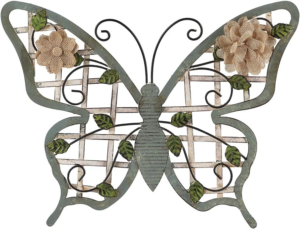 """Lechesis Large Metal Butterfly Wall Art Decor with Burlap and leaves Hanging Wall Sculptures for Indoor, Outdoor, 16.25"""" x 12.5"""""""