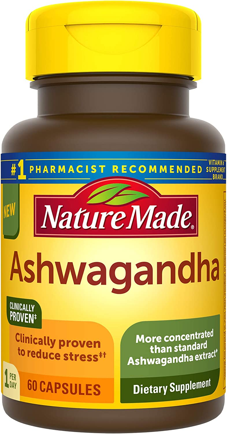 Nature Made Ashwagandha Capsules 125 mg for Stress Reduction 60 Count