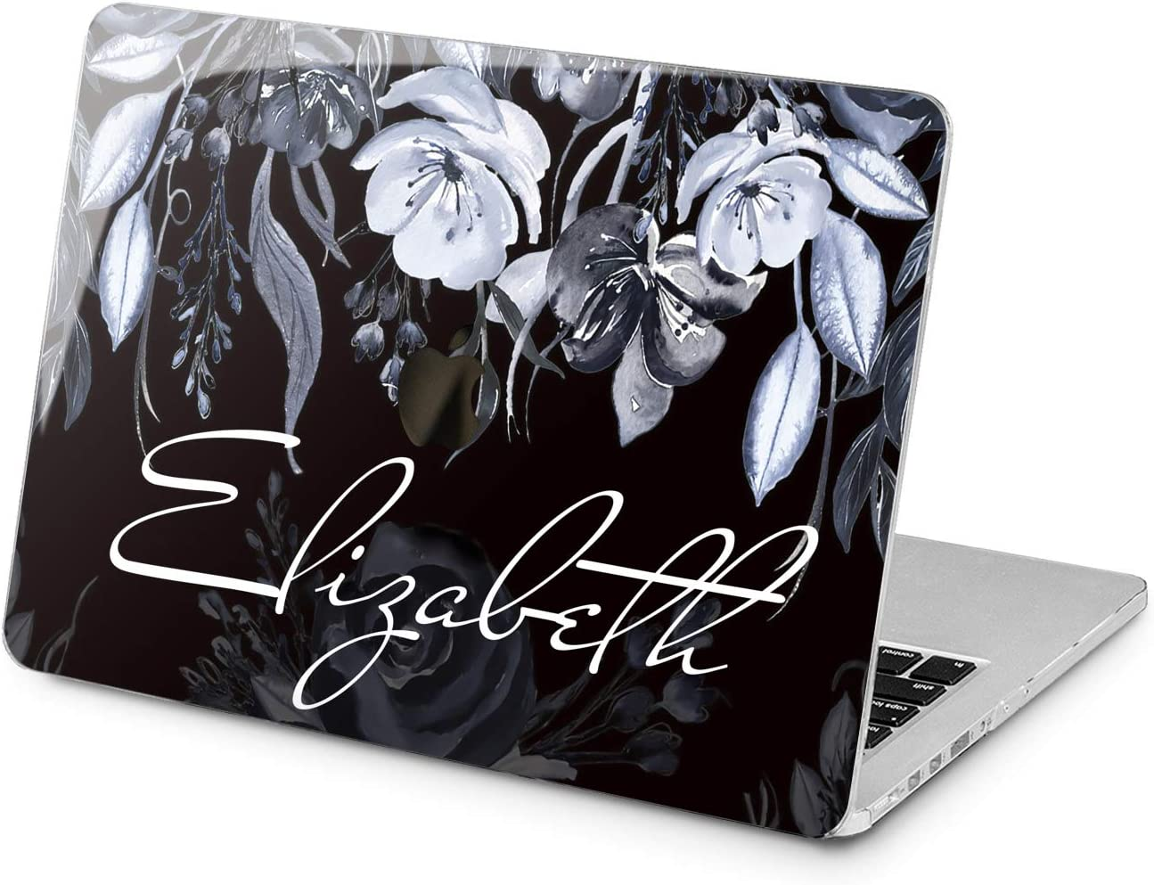 "Cavka Hard Shell Case for Apple MacBook Pro 13"" 2019 15"" 2018 Air 13"" 2020 Retina 2015 Mac 11"" Mac 12"" Monogram Design Print Flowers Laptop Plastic Initial Watercolor Blue Name Protective Cover Art"