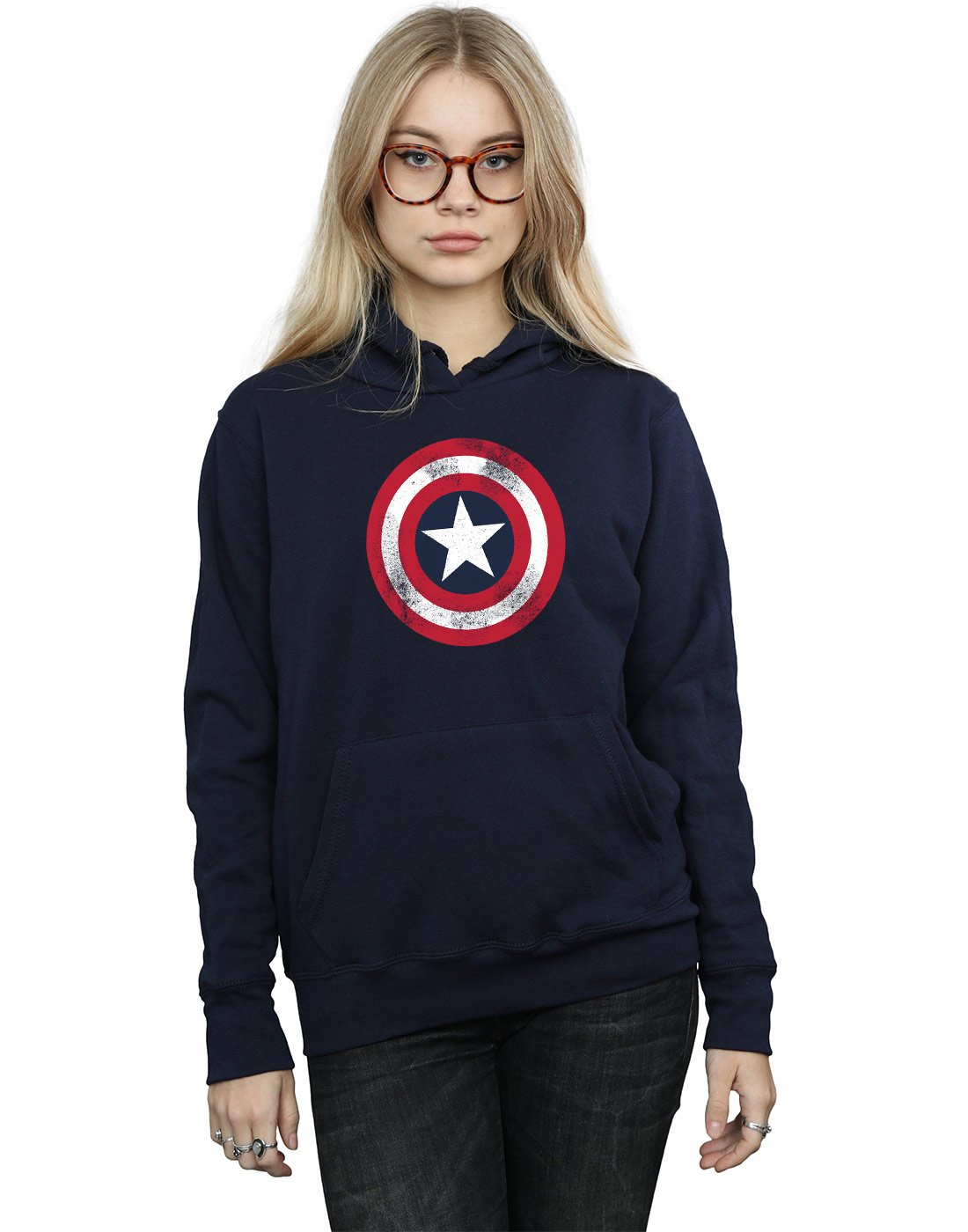Marvel Women's Captain America Distressed Shield Hoodie Large Navy Blue