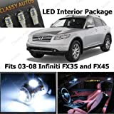 Classy Autos Infiniti FX35 and FX45 White Interior LED Package (13 Pieces)