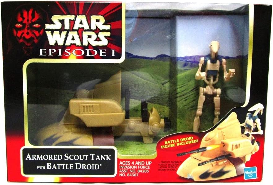 Star Wars 1999 Episode 1 The Phantom Menace Action Figure Vehicle - Invasion Force Armored Scout Tank with 4.5 Tall Battle Droid Figure