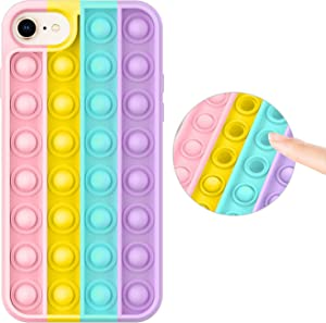 Fidget Toy Case for iPhone 8/iPhone 7, Stress Relief Anti-Anxiety Push Pop Bubble Silicone Rubber Protective Phone Case for Women, Girls & Kids, Rainbow