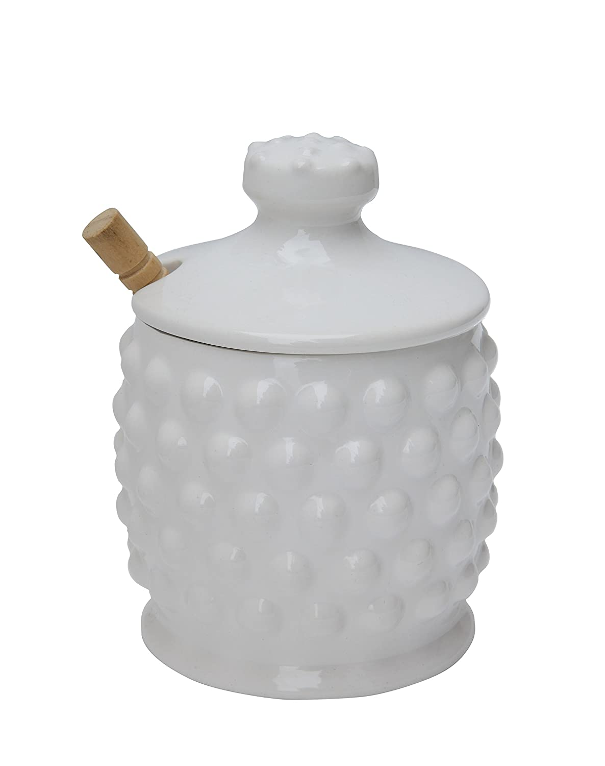Creative Co-op Dolomite Hobnail Style Honey Jar with Wood Dipper, White DA4847