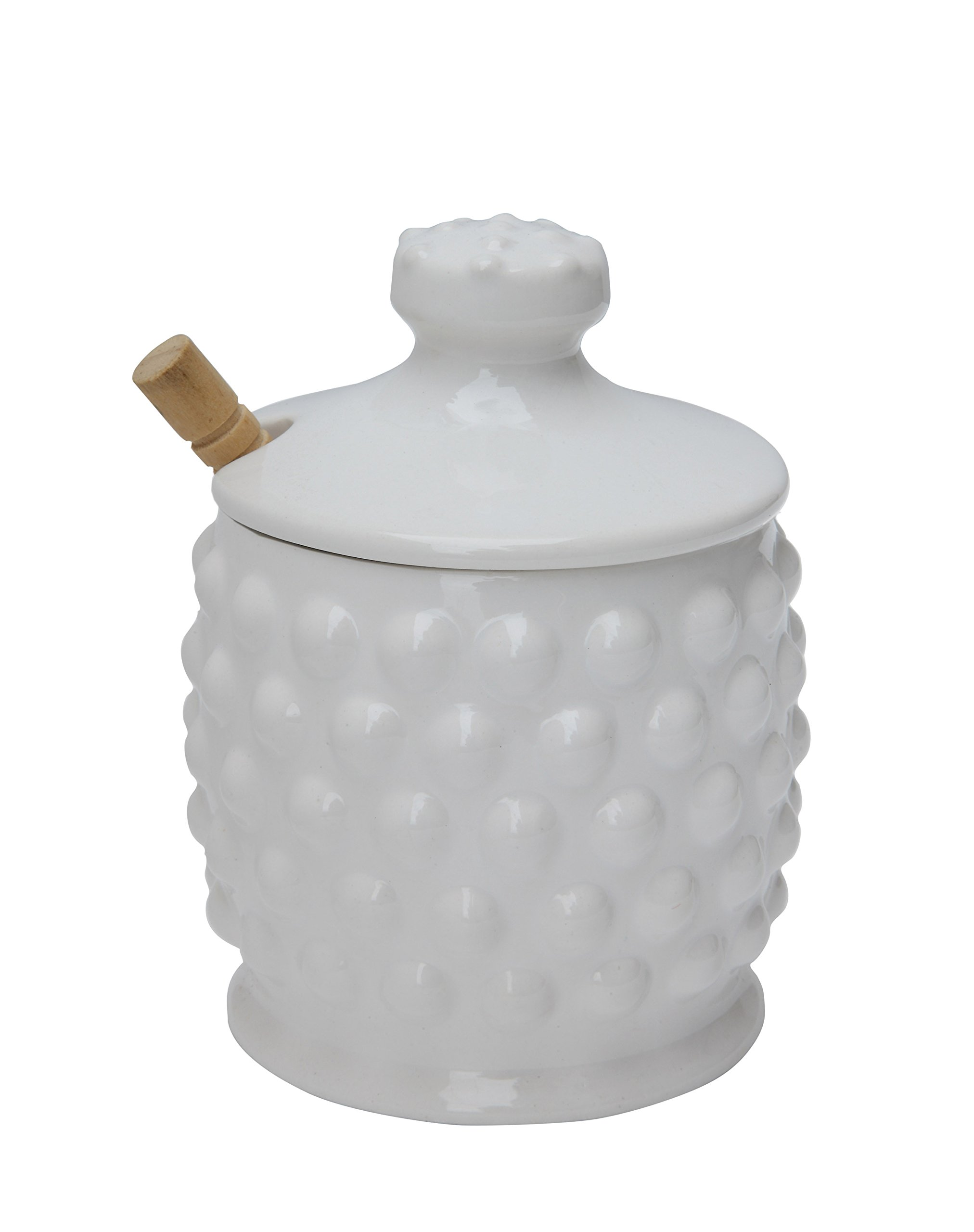 Creative Co-Op DA4847 White Ceramic Hobnail Style Honey Jar with Lid & Wood Dipper