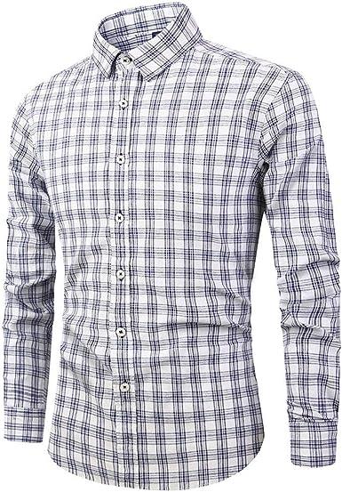 MEIbax Otoño e Invierno Primavera Moda Plaid Cosiendo Solapa Camisa Manga Larga Hombre El Botón Solapa El Botón Tops Camisetas Hombre Cárdigans Delgada Abrigo Outwear: Amazon.es: Ropa y accesorios