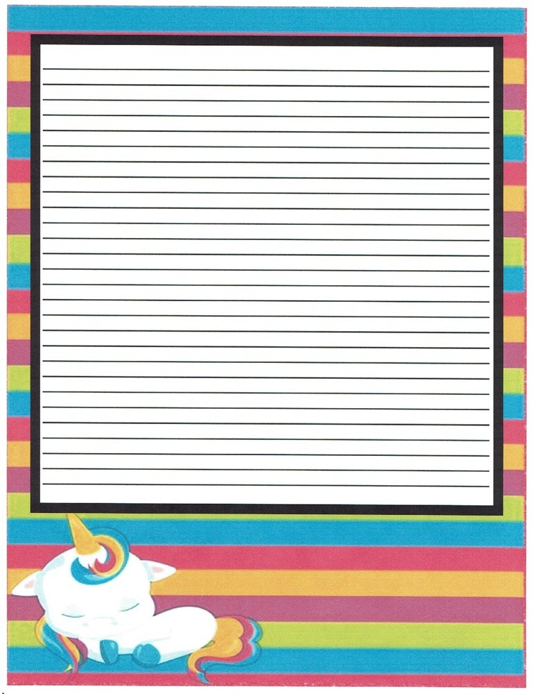 Girlu0027s Camp Multi Colored Unicorn Lined Stationery Paper 26 Sheets  Lined Stationary Paper