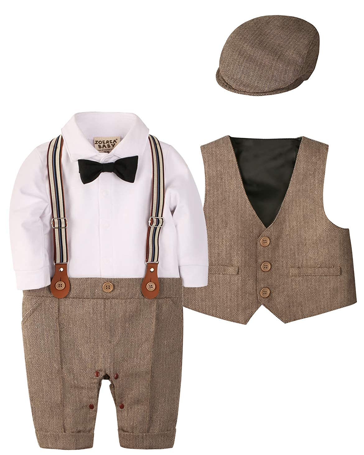 a02aa7ee1124 Amazon.com  ZOEREA 1pc Baby Boys Tuxedo Gentleman Onesie Romper ...