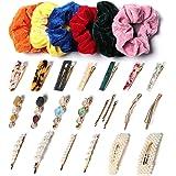 Yvnicll Barrettes for Women, Cute Hair Clips & Velvet Hair Scrunchies Set,Hair Pins Hair Accessories for Women Girls(28 PCS)