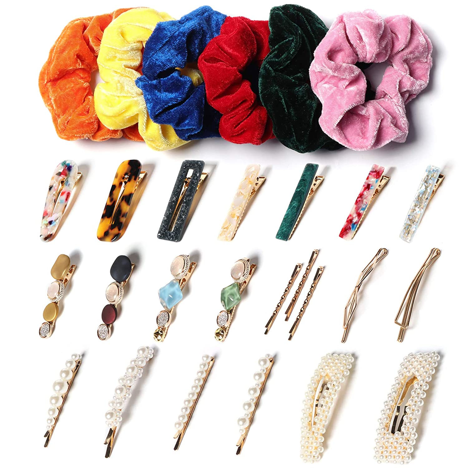 Barrettes for Women, Cute Hair Clips & Velvet Hair Scrunchies Set,Hair Pins Hair Accessories for Women Girls(28 PCS)