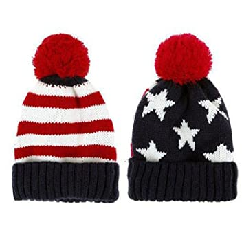 5c74efca637 SODIAL(R) US Flag Knit Beanie Crochet Rib Pom Pom Hat Cap Blue   Red ...