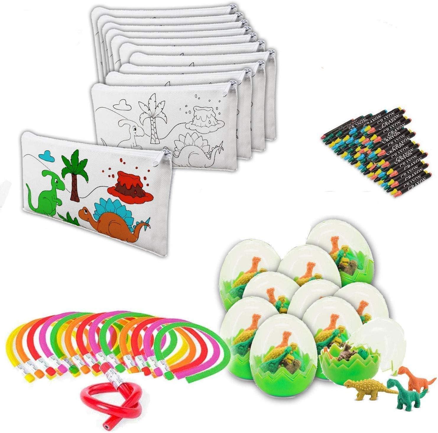 Detalle infantil 👧🏻👦🏻 30 estuches con 30 set de ceras, 30 lápices flexibles y 30 huevos con gomas de dinos para regalo🎁🎈