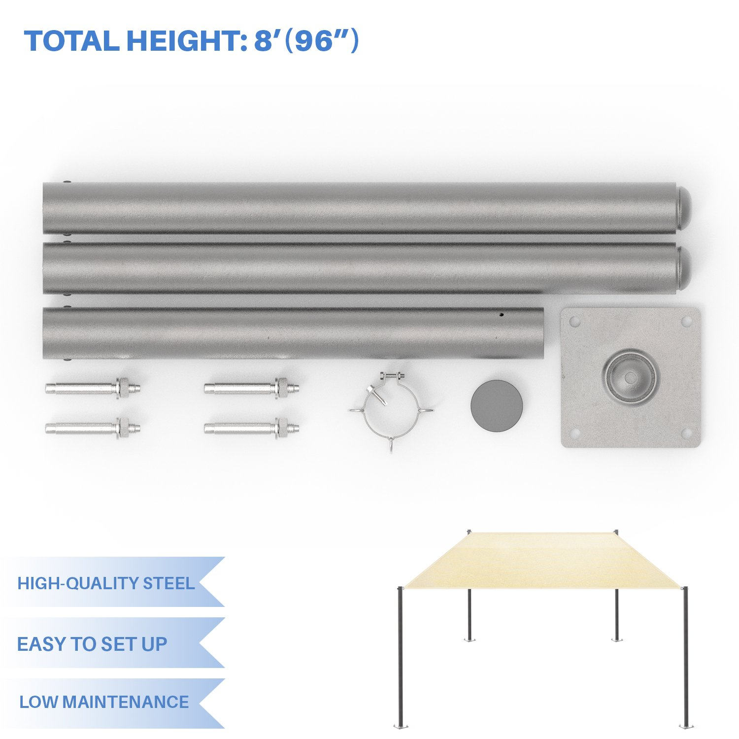 E&KSunrise Sun Shade Sail Pole, Stand Post - 8' Feet Tall (96'') -Heavy-duty Awning, Canopy Support Poles ,Space Durable versatile replacement poles, steel - Gray