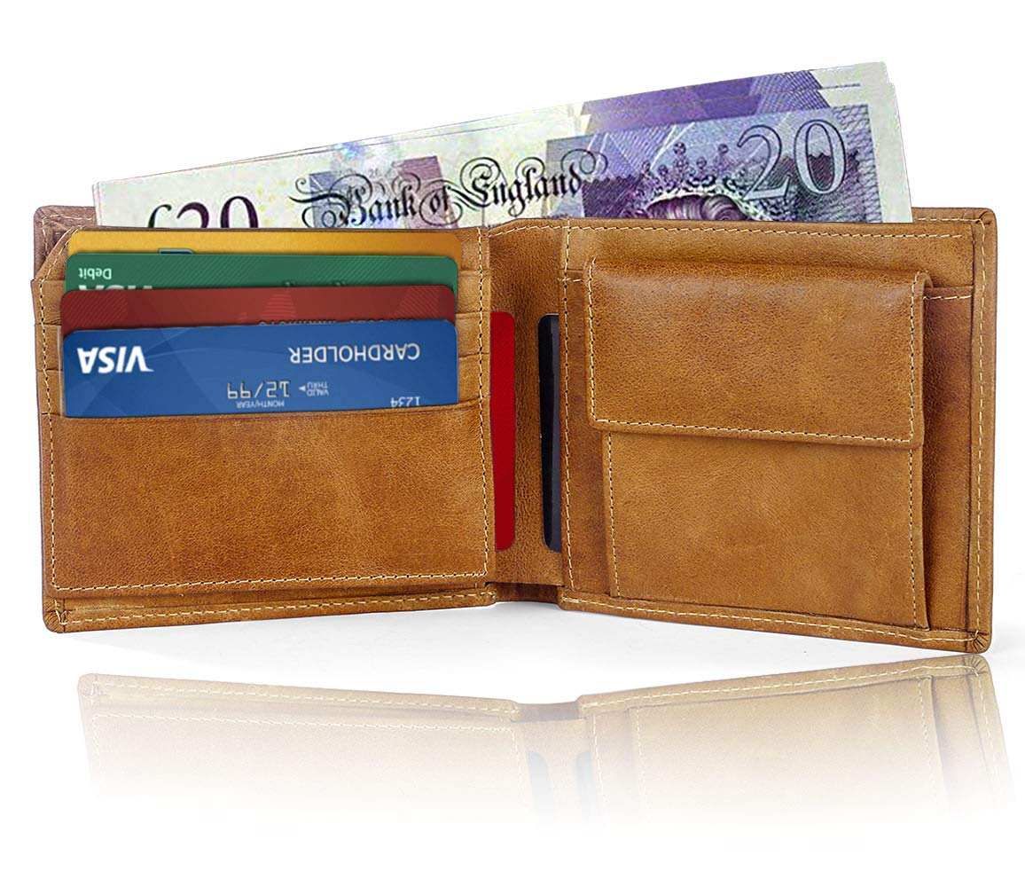 Genuine Leather Credit Card Holder Wallet, Pocket Slim Wallet (Brown)