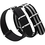 Adebena 22mm Nato Strap Replacement Nylon Watch Band with Stainless Steel Buckle,Pack of 2