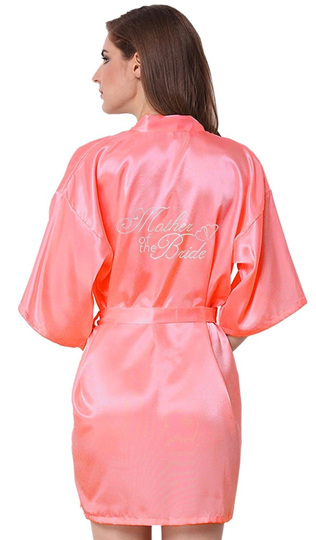 JOYTTON Women's White Satin Kimono Bridal Party Robe for Bride Bridesmaid