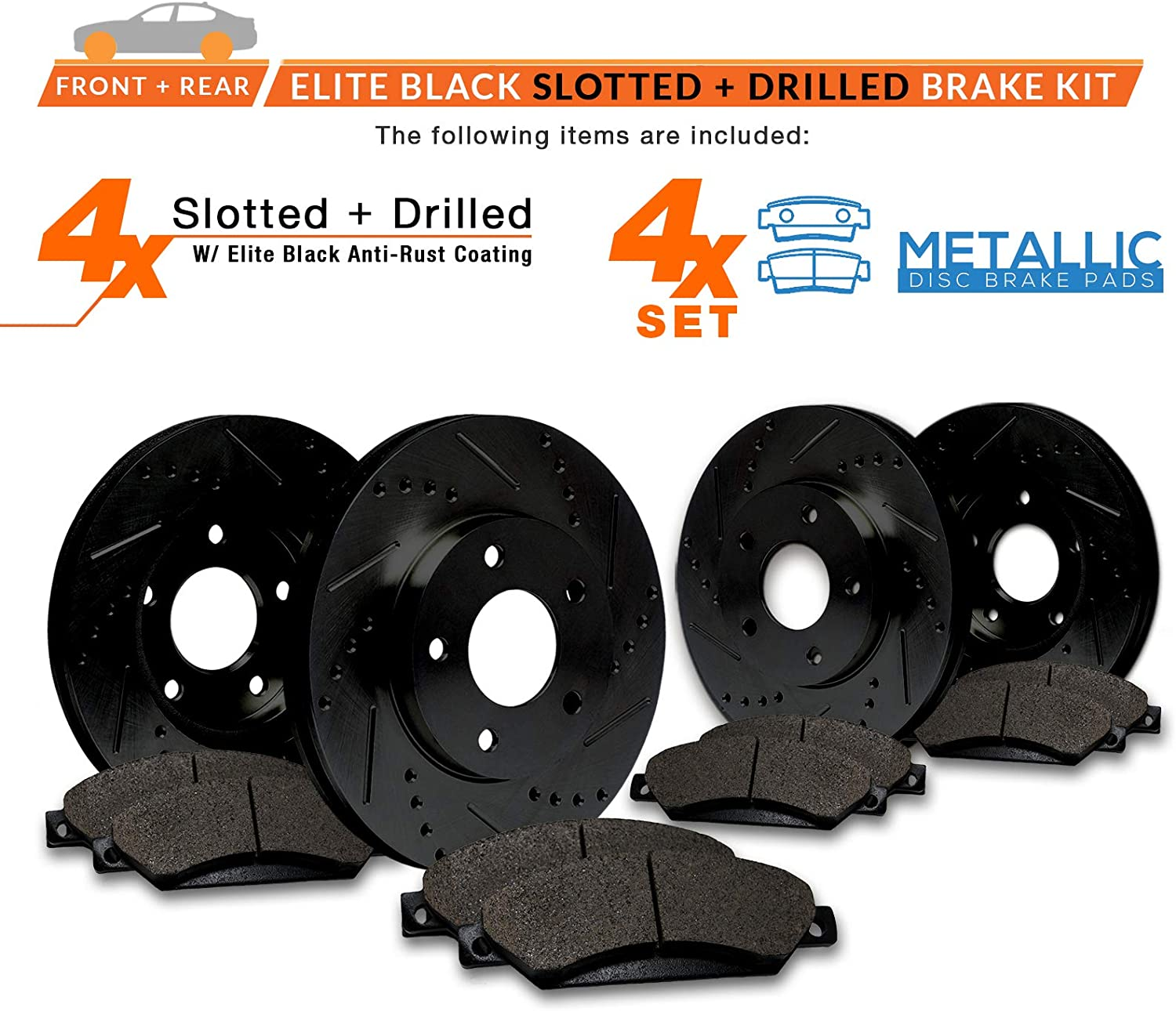 E-Coated Slotted Drilled Rotors + Metallic Pads Max Brakes Front /& Rear Elite Brake Kit TA053283 Fits: 2007 07 2008 08 2009 09 2010 10 Jeep Wrangler