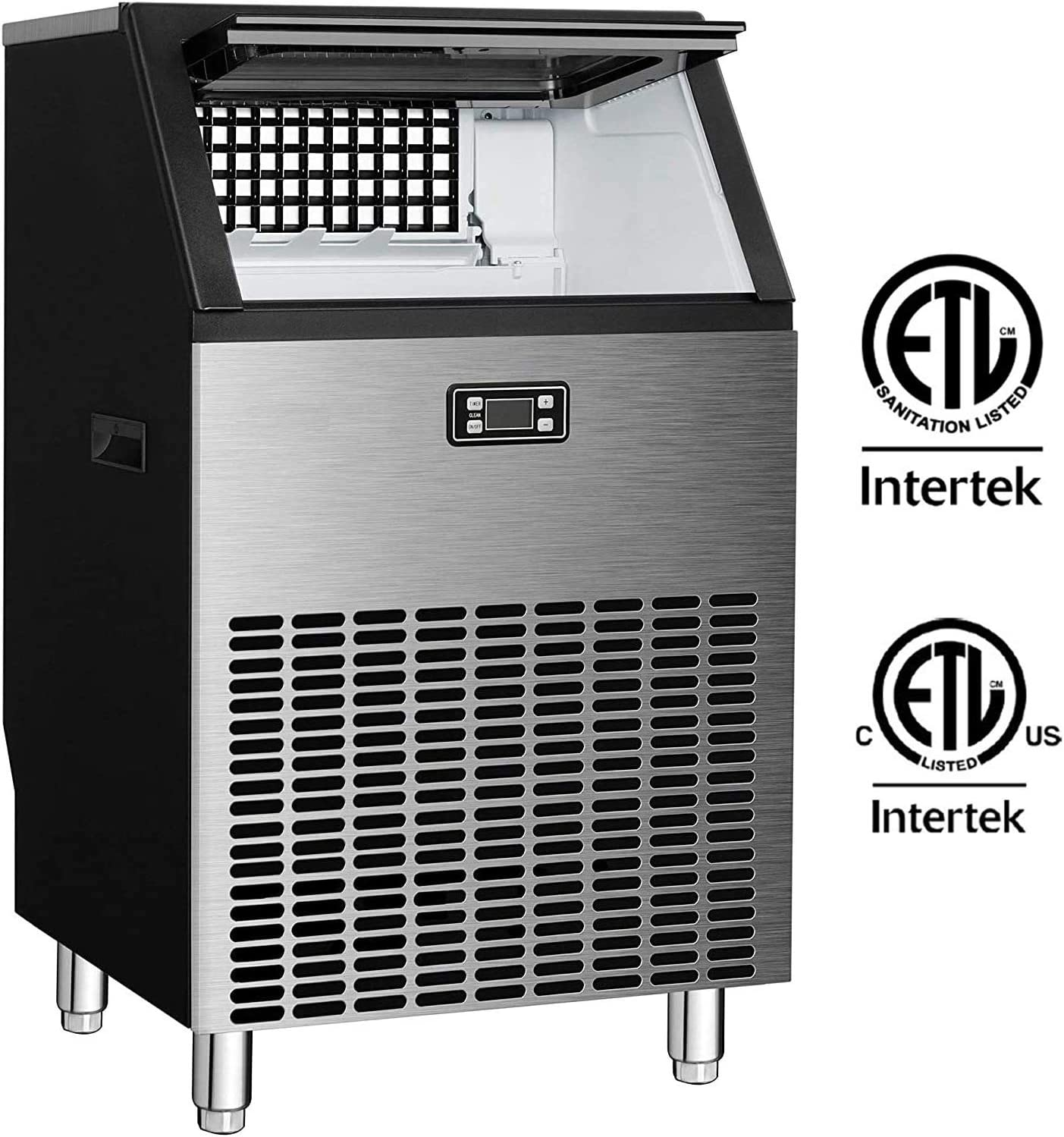 Northair Commercial Ice Maker Machine 200lbs Ice in 24hrs with 48 lbs Storage Capacity Stainless Steel Free-Standing Ice Maker Machine with LCD Display, Ideal For Restaurant, Bar, Coffee Shop