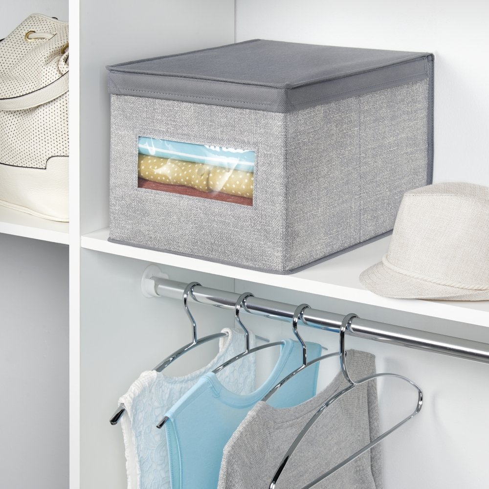Amazon.com: mDesign Soft Fabric Stackable Closet Storage Organizer Holder Box Bin with Clear Window, Attached Hinged Lid - Bedroom, Hallway, Entryway, ...