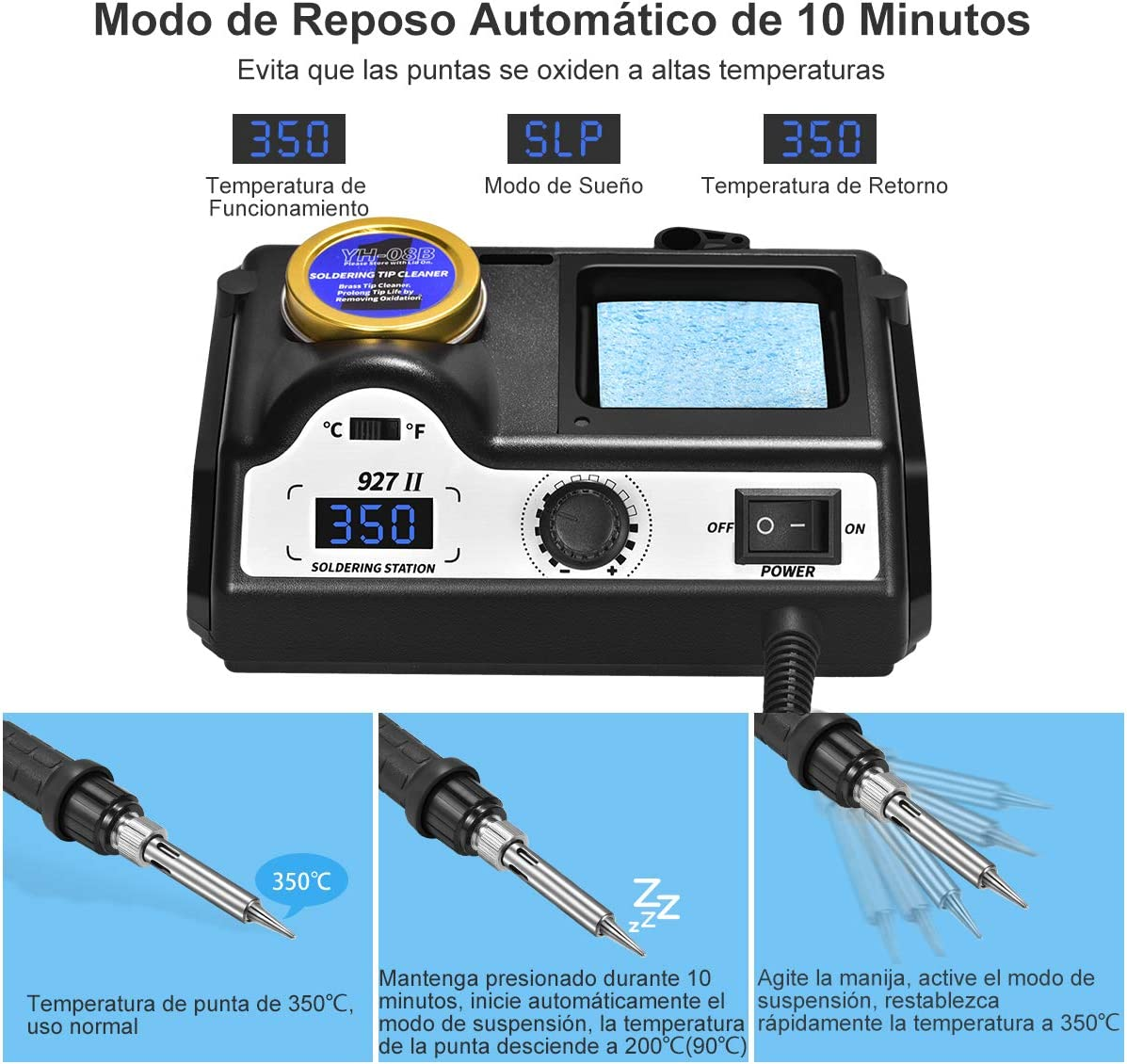 Estación de Soldadura,Preciva 60W 90-480℃ Kit del Soldador Eléctrico Profesional con Pantalla Led digital,5 PCS Punta soldador, 0.8 mm Alambre de soldadura sin plomo: Amazon.es: Bricolaje y herramientas