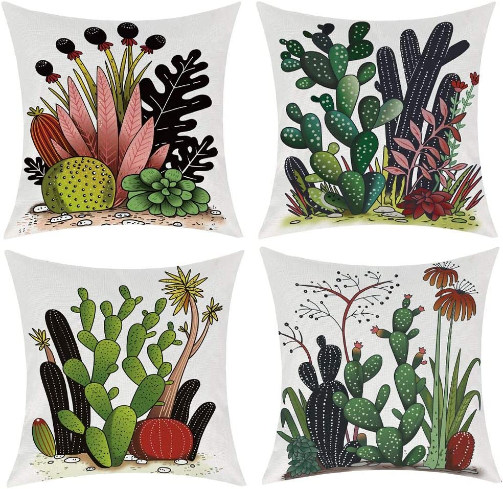 Set of 4 Summer Style Cactus Decor Throw Pillow Cover Green Plants Decorative Cotton Linen Burlap Square Outdoor Cushion Cover Pillow Case for Car Sofa Bed Couch 18x18 Inch