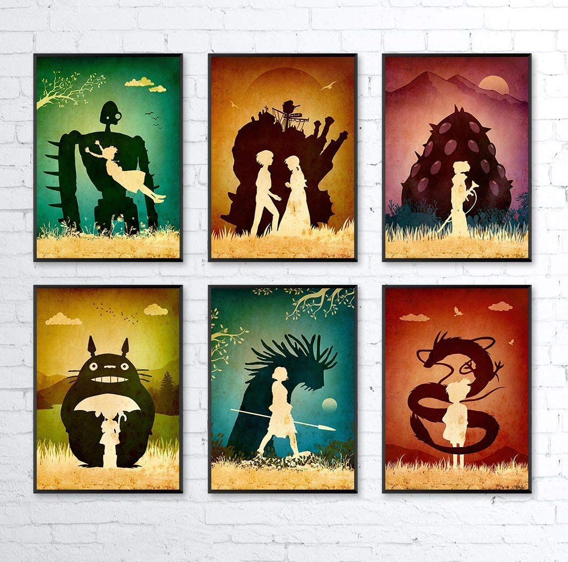 Studio Ghibli Hayao Miyazaki Minimalist Poster Set, Artwork Print, Totoro, Howl's Moving Castle, Mononoke, Nausicaa, Castle in the Sky, Spirited Away, Unframed Print, Office Decor, Home Decor
