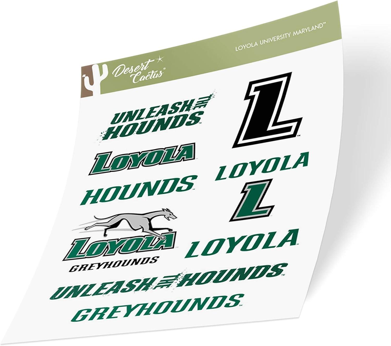 Loyola Maryland University Greyhound NCAA Sticker Vinyl Decal Laptop Water Bottle Car Scrapbook (Type 2 Sheet)