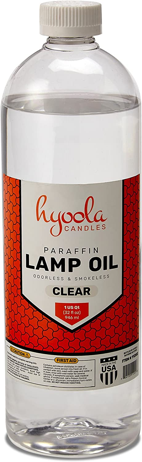 Liquid Paraffin Lamp Oil - Clear Smokeless, Odorless, Ultra Clean Burning Fuel for Indoor and Outdoor Use - Highest Purity Available - 32oz - by Hyoola Candles