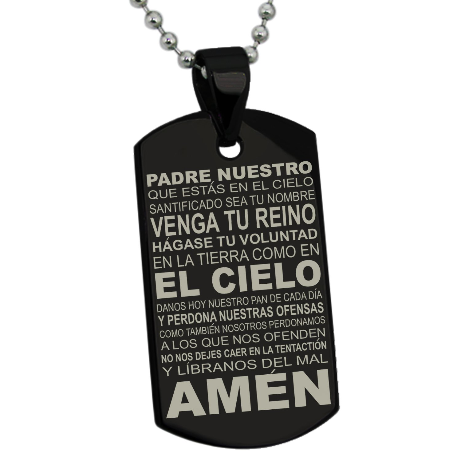 156c30367de70 Stainless Steel Lord's Prayer Spanish Translated Dog Tag Pendant Necklace