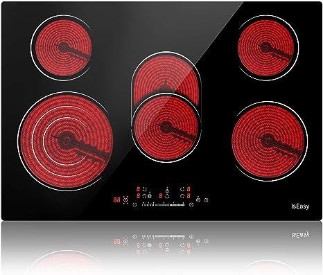Vitrocerámica - Placa de cocina eléctrica, 5 zonas, 8600 W ...