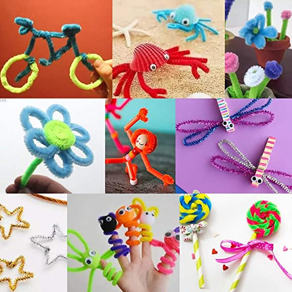 6 mm x 12 Inch Onepine 760 Pieces Pipe Cleaners Contains Glitter Pipe Cleaner 360 Pcs 18 Colors and Matte Chenille Stems 400 Pcs 20 Colors for Art Crafts and DIY Handmade Decoration