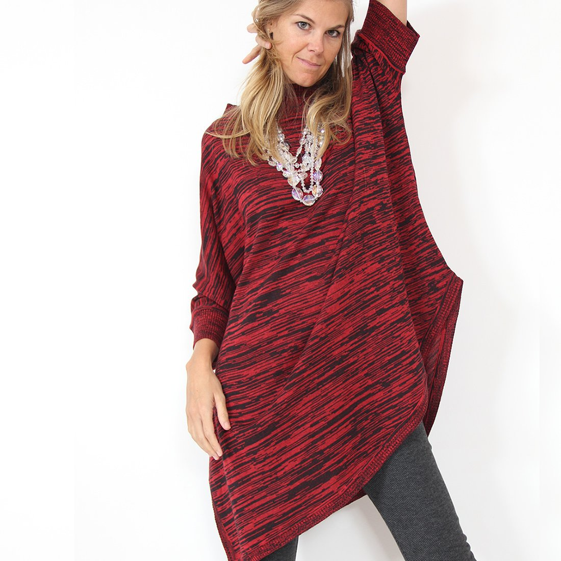Murliyn Womens Knitted Asymmetric Pullover - Boat-Neck Oversize 3/4 Dolman Sleeves Knit Sweater - Casual, Loose Fit - OS - Ruby Red