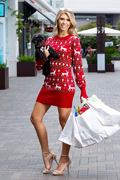 Red Christmas dress for party, Womens sweater dress, long sleeve mini dress with reindeer, Sweater dress for women