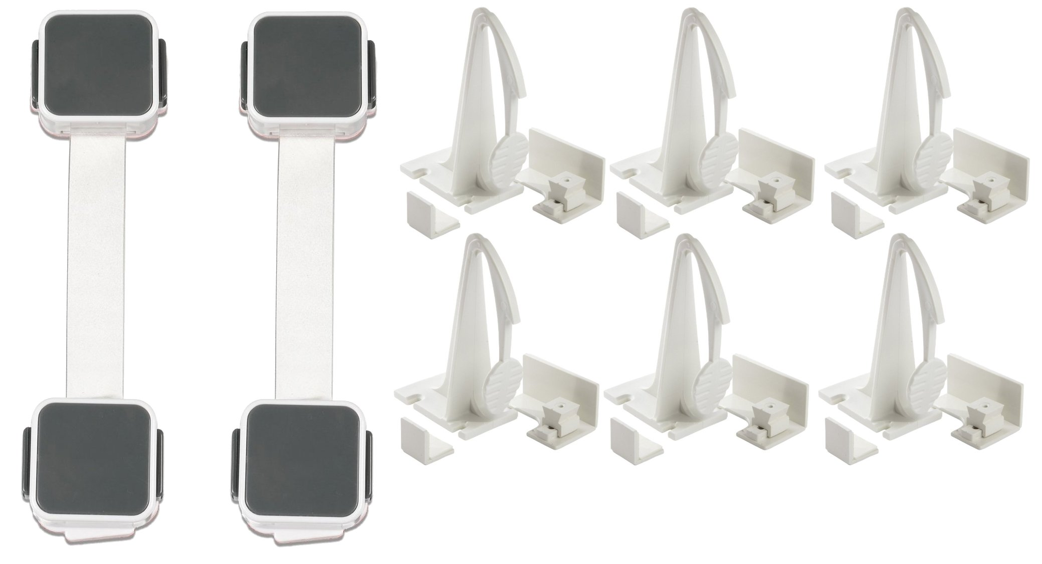 Adhesive Mount Cabinet and Drawer Lock with Multi Use Latches
