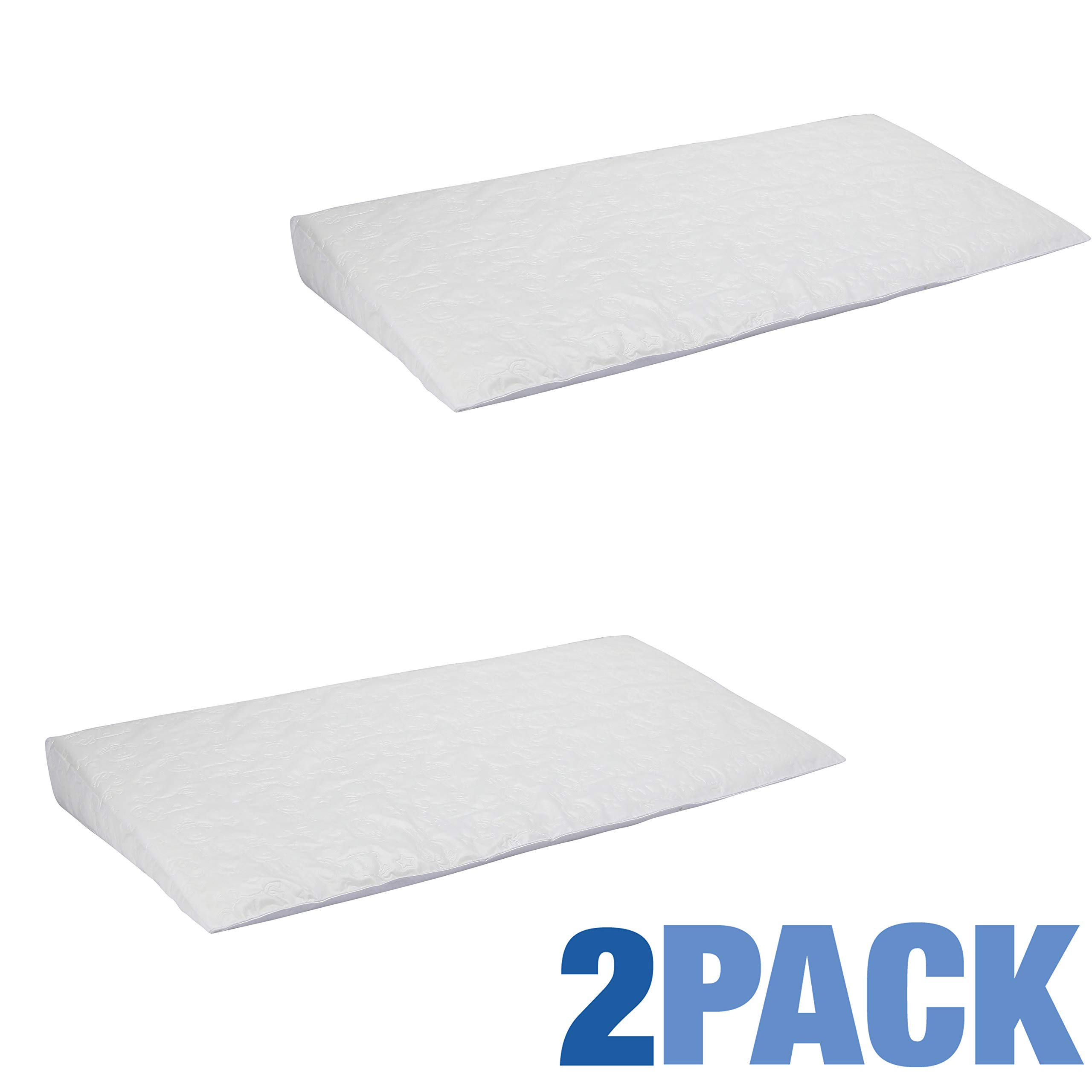 Perfect Sleeper Deluxe Crib Wedge, 2-Pack | Helps Baby with Acid Reflux and Congestion | Waterproof Cover