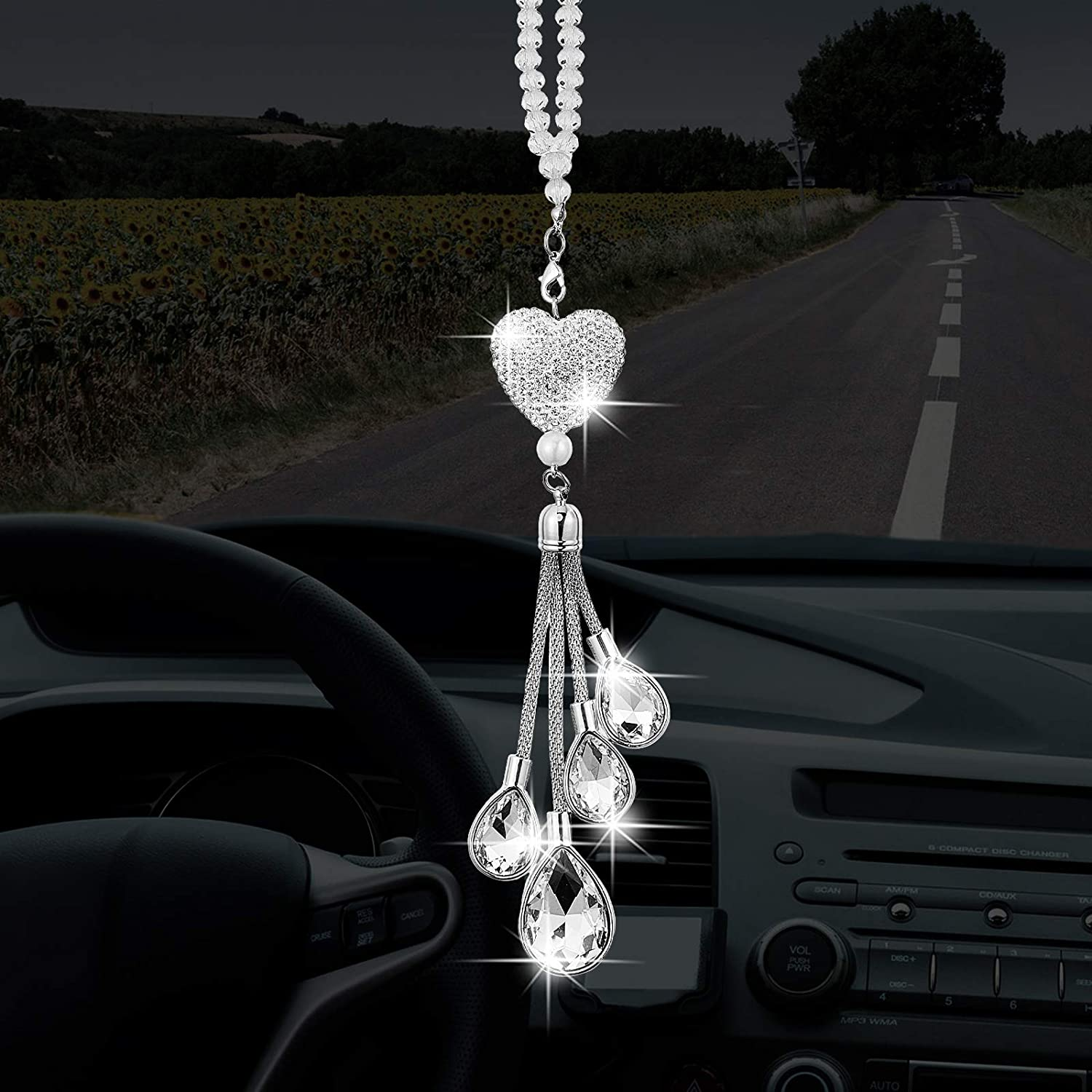 Bling White Heart Diamond Car Accessories, Silver-White Crystal Car Rear View Mirror Charms Car Decoration Decor, Lucky Hanging Interior Ornament Pendant